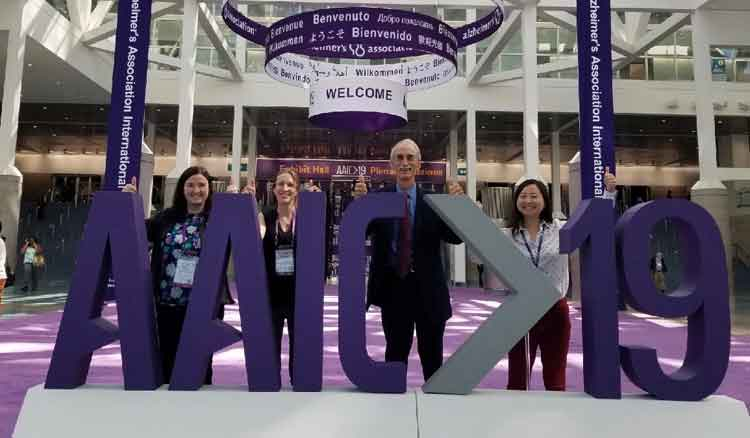 Louisa Thompson, PhD (second from right) with her Memory and Aging colleagues at the Alzheimer's Association International Conference in 2019. (left to right: Dr. Jessica Alber, Dr. Louisa Thompson, Dr. Stephen Salloway and Dr. Athene Lee.)